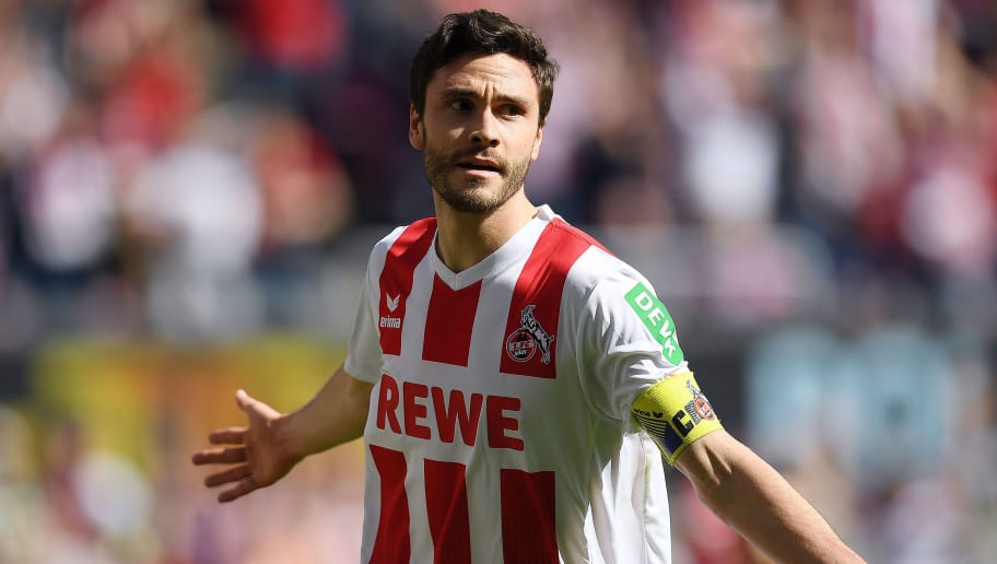 COLOGNE, GERMANY - APRIL 07: Jonas Hector of Koeln celebrates after he scored a goal to make it 1:0 during the Bundesliga match between 1. FC Koeln and 1. FSV Mainz 05 at RheinEnergieStadion on April 7, 2018 in Cologne, Germany. (Photo by Matthias Hangst/Bongarts/Getty Images)