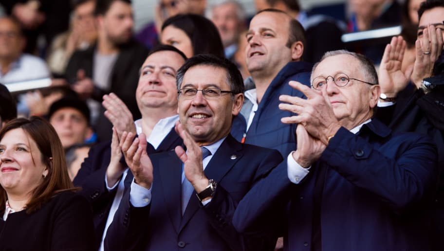 BARCELONA, SPAIN - MARCH 28: President Josep Maria Bartomeu of FC Barcelona applauds before the UEFA Women's Champions League Quarter Final 2nd Leg match between FC Barcelona Women and Olympique Lyon Women at Mini Estadi on March 28, 2018 in Barcelona, Spain. (Photo by Alex Caparros/Getty Images)