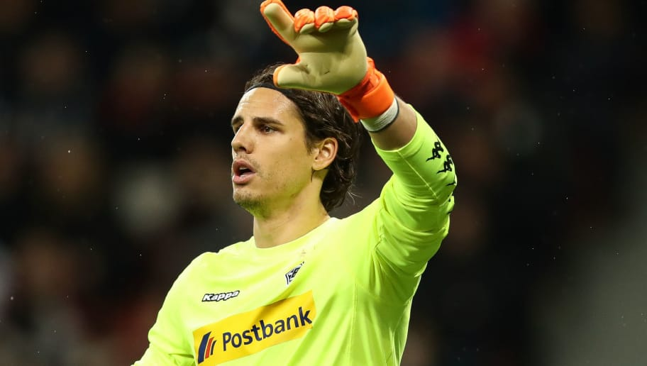 LEVERKUSEN, GERMANY - MARCH 10: Yann Sommer goalkeeper of Moenchengladbach reacts during the Bundesliga match between Bayer 04 Leverkusen and Borussia Moenchengladbach at BayArena on March 10, 2018 in Leverkusen, Germany. (Photo by Maja Hitij/Bongarts/Getty Images)