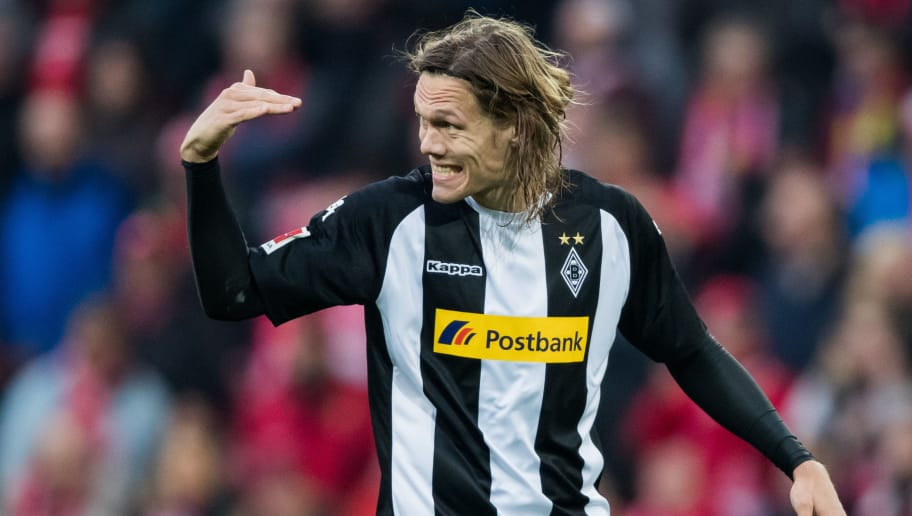 MAINZ, GERMANY - APRIL 01: Jannik Vestergaard of Moenchengladbach gestures during the Bundesliga match between 1. FSV Mainz 05 and Borussia Moenchengladbach at Opel Arena on April 1, 2018 in Mainz, Germany. (Photo by Simon Hofmann/Bongarts/Getty Images)