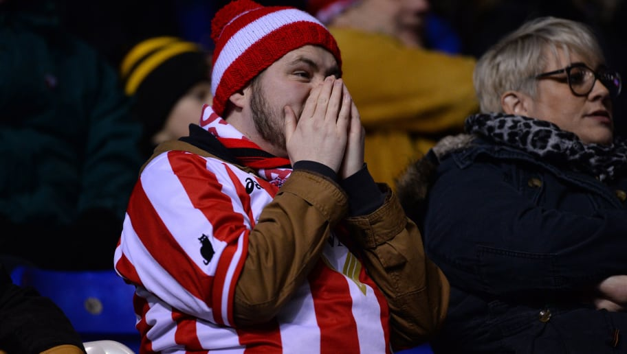 BIRMINGHAM, ENGLAND - JANUARY 30: A,Sunderland fan looks on during the Sky Bet Championship match between Birmingham City and Sunderland at St Andrews on January 30, 2018 in Birmingham, England. (Photo by Nathan Stirk/Getty Images)