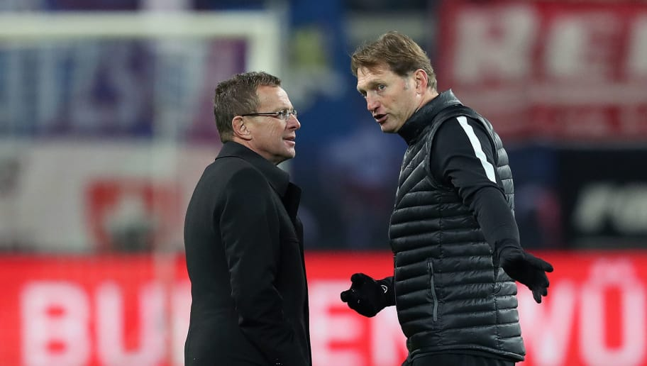 LEIPZIG, GERMANY - NOVEMBER 06: Head coach Ralph Hasenhuettl (R) and sporting manager Ralf Rangnick (L) of Leipzig chat after the Bundesliga match between RB Leipzig and 1. FSV Mainz 05 at Red Bull Arena on November 6, 2016 in Leipzig, Germany. (Photo by Ronny Hartmann/Bongarts/Getty Images)