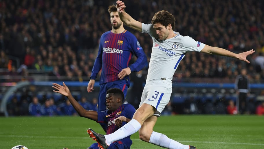 BARCELONA, SPAIN - MARCH 14:  Marcos Alonso of Chelsea is tackled by Ousmane Dembele of Barcelona during the UEFA Champions League Round of 16 Second Leg match FC Barcelona and Chelsea FC at Camp Nou on March 14, 2018 in Barcelona, Spain.  (Photo by Shaun Botterill/Getty Images)