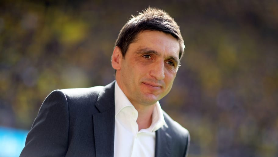 DORTMUND, GERMANY - APRIL 08: Head coach Tayfun Korkut of Stuttgart is seen prior to the Bundesliga match between Borussia Dortmund and VfB Stuttgart at Signal Iduna Park on April 8, 2018 in Dortmund, Germany. The match between Dortmund and Stuttgart ended 3-0. (Photo by Christof Koepsel/Bongarts/Getty Images)