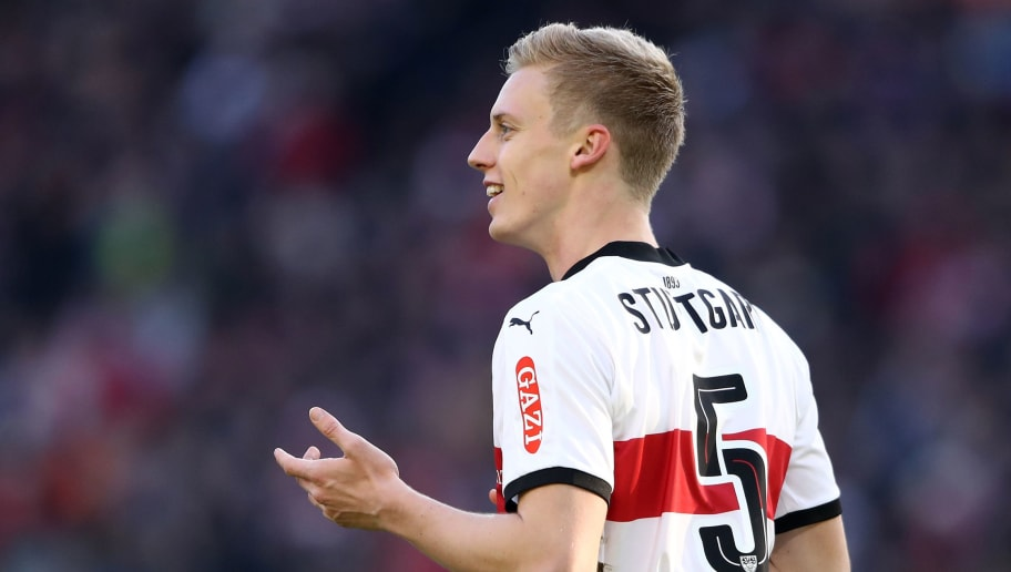 STUTTGART, GERMANY - FEBRUARY 24: Timo Baumgartl of Stuttgart reacts during the Bundesliga match between VfB Stuttgart and Eintracht Frankfurt at Mercedes-Benz Arena on February 24, 2018 in Stuttgart, Germany. (Photo by Alex Grimm/Bongarts/Getty Images)