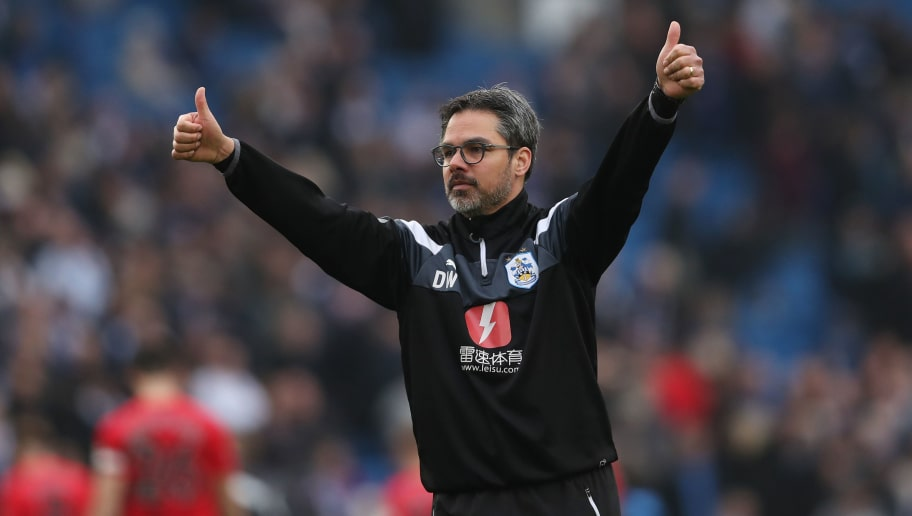 BRIGHTON, ENGLAND - APRIL 07:  David Wagner, Manager of Huddersfield Town shows appreciation to the fans after the Premier League match between Brighton and Hove Albion and Huddersfield Town at Amex Stadium on April 7, 2018 in Brighton, England.  (Photo by Dan Istitene/Getty Images)