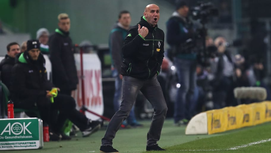 MOENCHENGLADBACH, GERMANY - DECEMBER 20:  Andre Schubert, coach of Borussia Moenchengladbach gives instructions during the Bundesliga match between Borussia Moenchengladbach and VfL Wolfsburg at Borussia-Park on December 20, 2016 in Moenchengladbach, Germany.  (Photo by Maja Hitij/Bongarts/Getty Images)