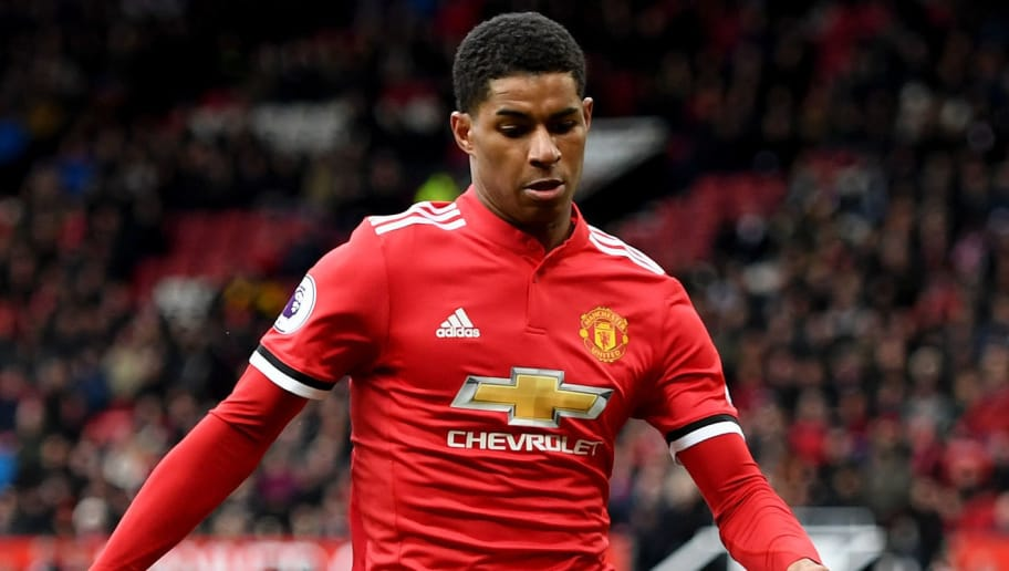 MANCHESTER, ENGLAND - MARCH 31:  Marcus Rashford of Manchester United in action during the Premier League match between Manchester United and Swansea City at Old Trafford on March 31, 2018 in Manchester, England.  (Photo by Ross Kinnaird/Getty Images)