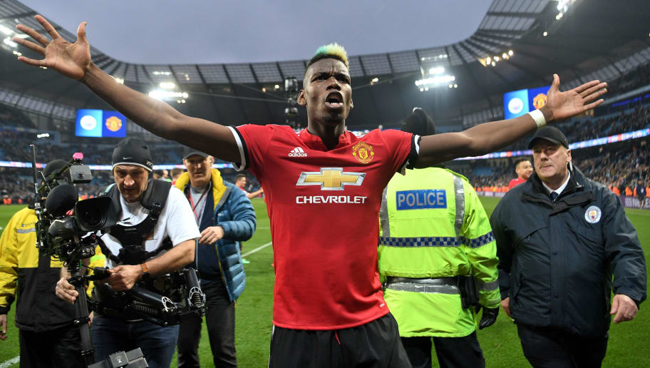 MANCHESTER, ENGLAND - APRIL 07:  Paul Pogba of Manchester United celebrates victory after the Premier League match between Manchester City and Manchester United at Etihad Stadium on April 7, 2018 in Manchester, England.  (Photo by Michael Regan/Getty Images)
