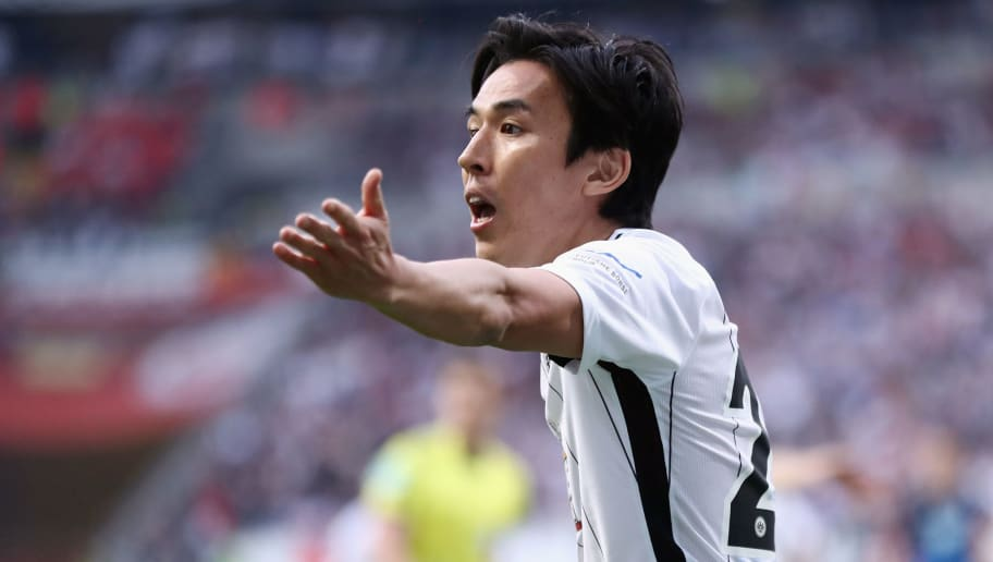FRANKFURT AM MAIN, GERMANY - APRIL 08:  Makoto Hasebe of Frankfurt reacts during the Bundesliga match between Eintracht Frankfurt and TSG 1899 Hoffenheim at Commerzbank-Arena on April 8, 2018 in Frankfurt am Main, Germany.  (Photo by Alex Grimm/Bongarts/Getty Images)