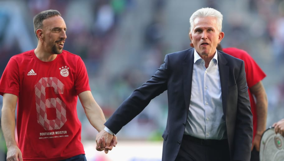 AUGSBURG, GERMANY - APRIL 07:  Jupp Heynckes, head coach of Bayern Muechen (r) celebrates in front of their supporters with Franck Ribery of Bayern Muenchen winning the 6th championship back to back, after the Bundesliga match between FC Augsburg and FC Bayern Muenchen at WWK-Arena on April 7, 2018 in Augsburg, Germany.  (Photo by Alexander Hassenstein/Bongarts/Getty Images)