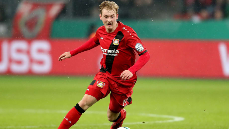 LEVERKUSEN, GERMANY - FEBRUARY 06: Julian Brandt of Leverkusen runs with the ball the DFB Cup quarter final match between Bayer Leverkusen and Werder Bermen at BayArena on February 6, 2018 in Leverkusen, Germany. The match between Leverkusen and Bremen ended 4-2 after extra time. (Photo by Christof Koepsel/Bongarts/Getty Images)