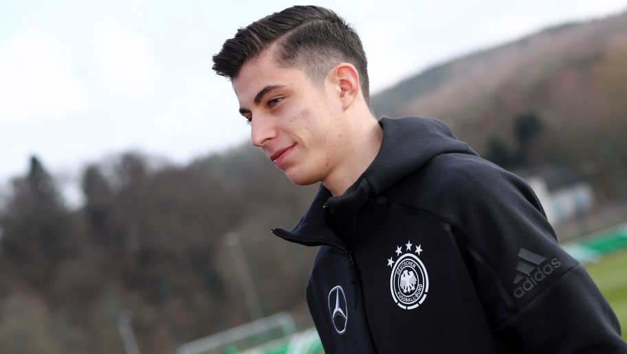 ARNSBERG, GERMANY - MARCH 24: Kai Havertz of Germany prepares prior to the UEFA Under19 European Championship Qualifier match between Germany and Norway at Stadion Grosse Wiese on March 24, 2018 in Huesten, Germany. The match between Germany and Norway ended 2-5. (Photo by Christof Koepsel/Bongarts/Getty Images)