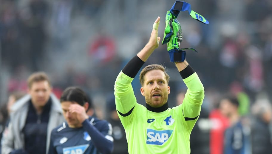 AUGSBURG, GERMANY - MARCH 03: Goalkeeper Oliver Baumann of Hoffenheim applauds the fans after the Bundesliga match between FC Augsburg and TSG 1899 Hoffenheim at WWK-Arena on March 3, 2018 in Augsburg, Germany. (Photo by Sebastian Widmann/Bongarts/Getty Images)