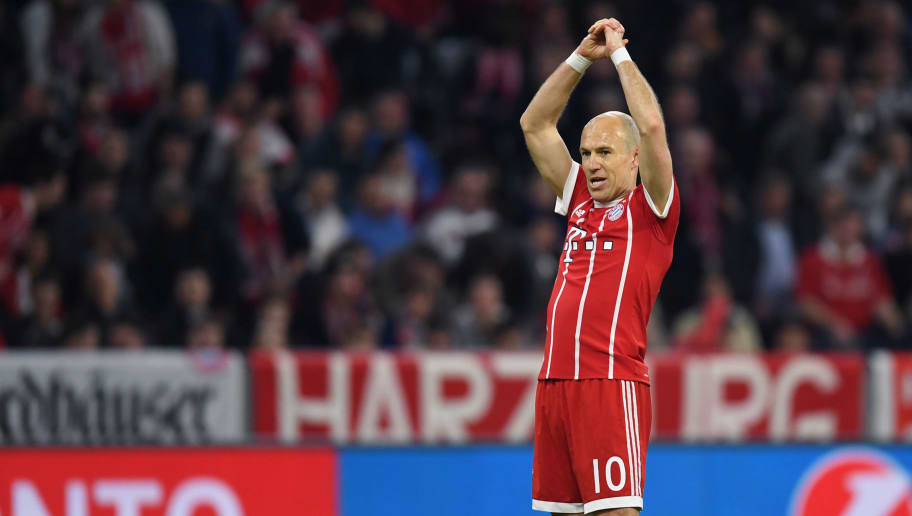 Bayern Munich's Dutch midfielder Arjen Robben reacts during the UEFA Champions League quarter-final second leg football match between FC Bayern Munich and Sevilla FC on April 11, 2018 in Munich, southern Germany. Bayern Munich marched into another Champions League semi-final despite 10-man Sevilla holding them to a goalless draw at home. / AFP PHOTO / Christof STACHE        (Photo credit should read CHRISTOF STACHE/AFP/Getty Images)
