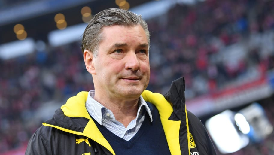 MUNICH, GERMANY - MARCH 31: Sporting director Michael Zorc of Dortmund looks on prior to the Bundesliga match between FC Bayern Muenchen and Borussia Dortmund at Allianz Arena on March 31, 2018 in Munich, Germany. (Photo by Sebastian Widmann/Bongarts/Getty Images)
