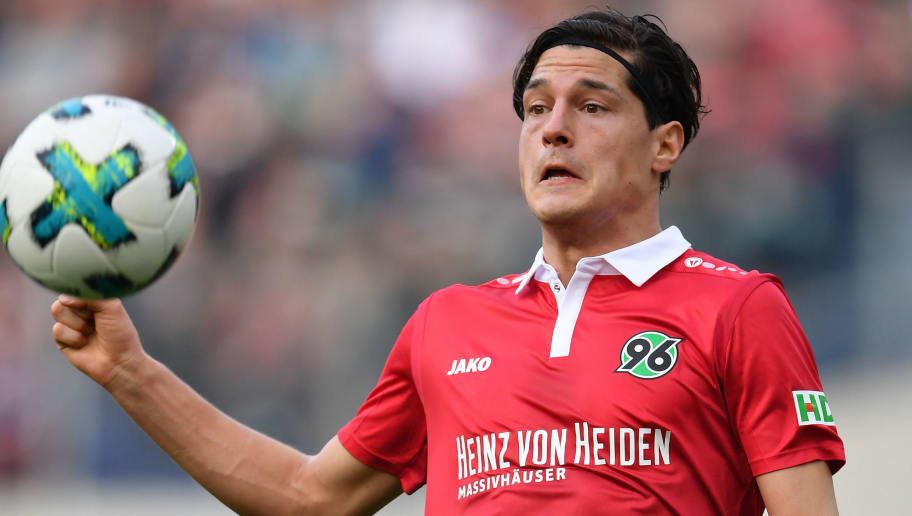 HANOVER, GERMANY - MARCH 10:  Miiko Albornoz of Hannover in action during the Bundesliga match between Hannover 96 and FC Augsburg at HDI-Arena on March 10, 2018 in Hanover, Germany.  (Photo by Stuart Franklin/Bongarts/Getty Images)