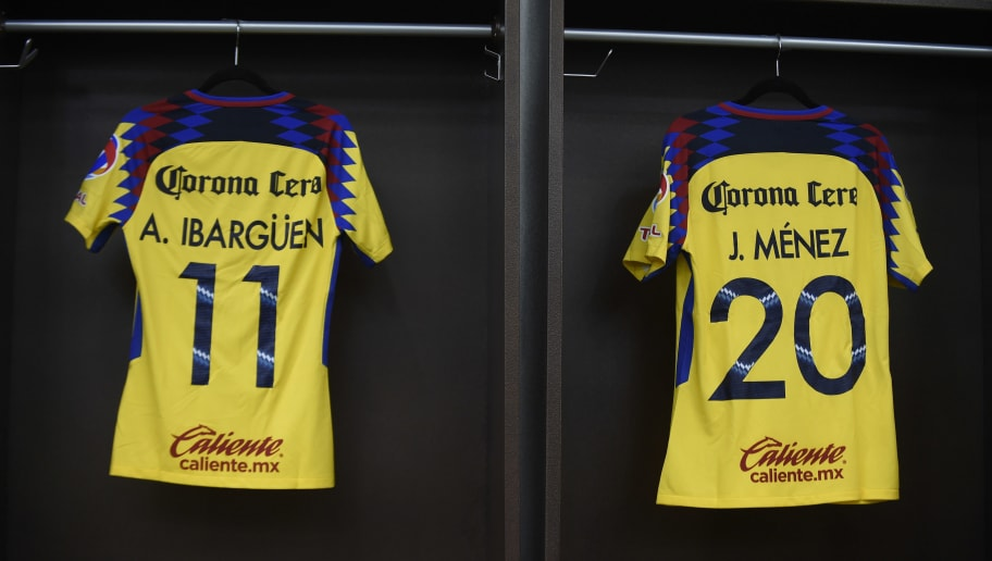 The jerseys of French player Jeremy Menez (R) and Colombian player Andres Ibarguen (L), new players of America, are pictured during a press conference at the Azteca stadium in Mexico City on January 26, 2018.  Mexican football club America presented its new players to the press Friday. / AFP PHOTO / ALFREDO ESTRELLA        (Photo credit should read ALFREDO ESTRELLA/AFP/Getty Images)