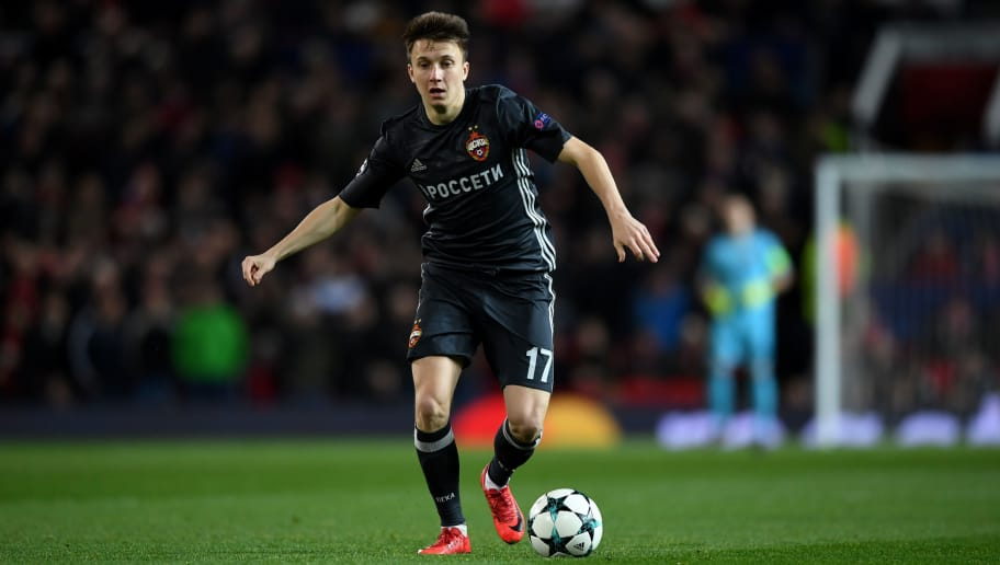 MANCHESTER, ENGLAND - DECEMBER 05:  Aleksandr Golovin of CSKA Moskva during the UEFA Champions League group A match between Manchester United and CSKA Moskva at Old Trafford on December 5, 2017 in Manchester, United Kingdom.  (Photo by Gareth Copley/Getty Images)