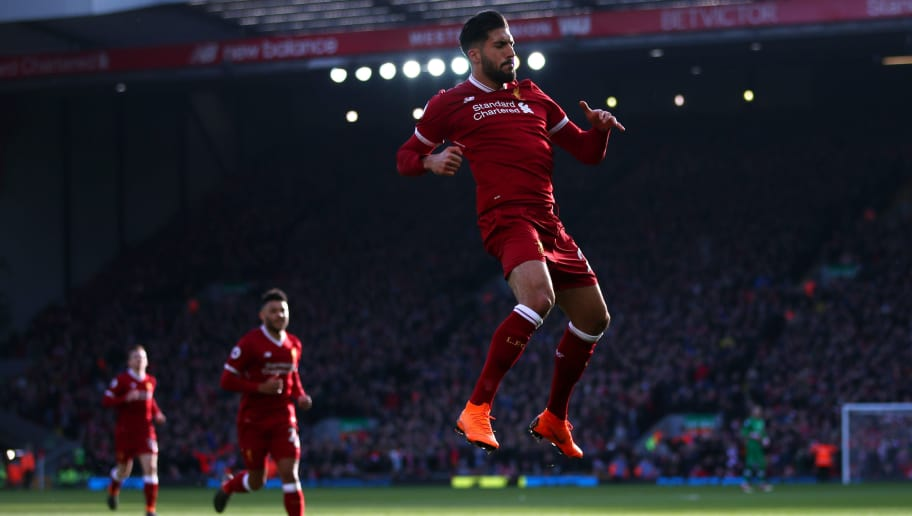 LIVERPOOL, ENGLAND - FEBRUARY 24:  Emre Can of Liverpool celebrates scoring his side's first goal during the Premier League match between Liverpool and West Ham United at Anfield on February 24, 2018 in Liverpool, England.  (Photo by Clive Brunskill/Getty Images)