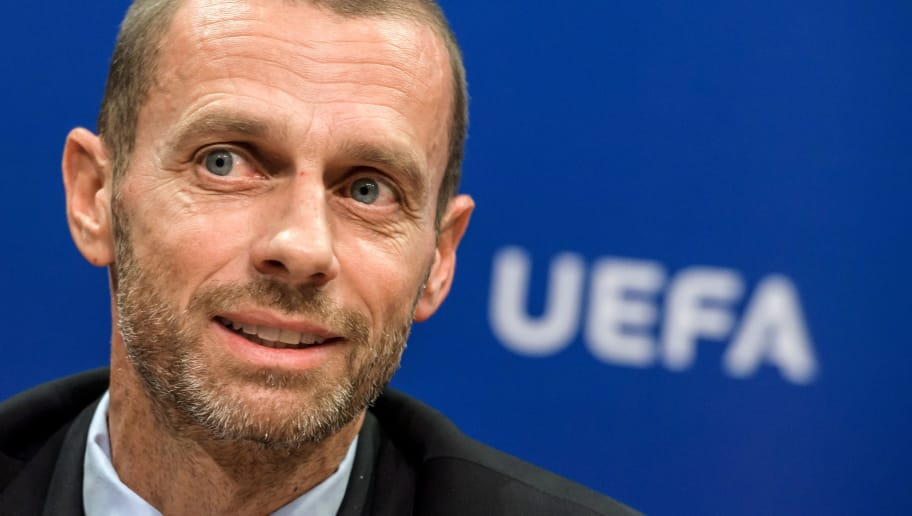 UEFA president Aleksander Ceferin attends a press conference on September 20, 2017 at the UEFA headqurters in Nyon. Ceferin has called for greater support from Europe's political leaders to help introduce measures to regulate the transfer market on the continent. / AFP PHOTO / Fabrice COFFRINI        (Photo credit should read FABRICE COFFRINI/AFP/Getty Images)