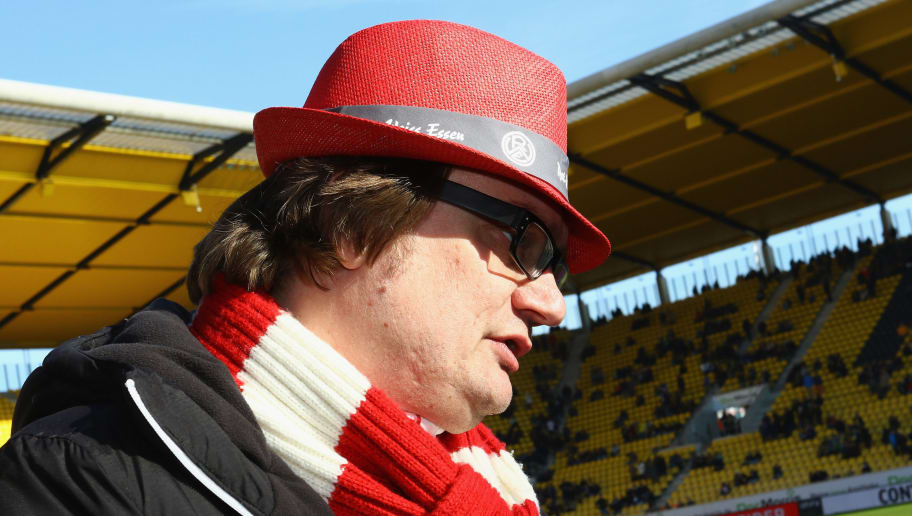 AACHEN, GERMANY - FEBRUARY 07:  President Michael Welling of Essen looks on prior to the Regionalliga West match between Alemannia Aachen and Rot-Weiss Essen at Tivoli Stadium on February 7, 2015 in Aachen, Germany.  (Photo by Christof Koepsel/Bongarts/Getty Images)