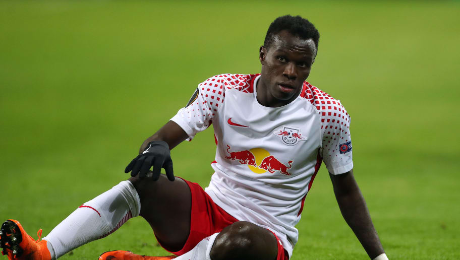 LEIPZIG, GERMANY - APRIL 05: Bruma of RB Leipzig sits on the pitch during the UEFA Europa League quarter final leg one match between RB Leipzig and Olympique Marseille at the Red Bull Arena on April 5, 2018 in Leipzig, Germany. (Photo by Ronny Hartmann/Bongarts/Getty Images)