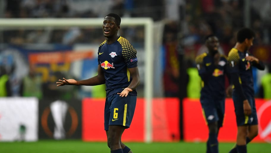 MARSEILLE, FRANCE - APRIL 12:  Ibrahima Konate of RB Leipzig looks dejected at the end of the UEFA Europa League quarter final leg two match between Olympique Marseille and RB Leipzig at Stade Velodrome on April 12, 2018 in Marseille, France.  (Photo by Valerio Pennicino/Bongarts/Getty Images)