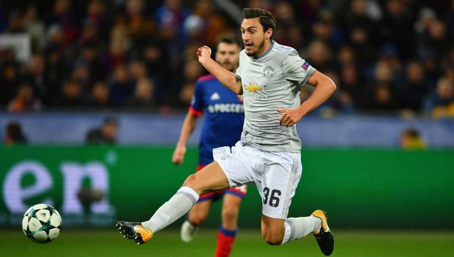 MOSCOW, RUSSIA - SEPTEMBER 27:Matteo Darmian of Manchester United shoots on goal during the UEFA Champions League group A match between CSKA Moskva and Manchester United at WEB Arena on September 27, 2017 in Moscow, Russia.  (Photo by Dan Mullan/Getty Images)