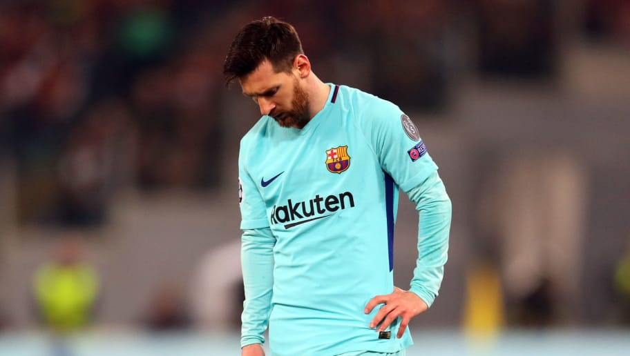 ROME, ITALY - APRIL 10: A dejected looking Lionel Messi of FC Barcelona during the UEFA Champions League Quarter Final second leg between AS Roma and FC Barcelona  at Stadio Olimpico on April 10, 2018 in Rome, Italy. (Photo by Catherine Ivill/Getty Images)