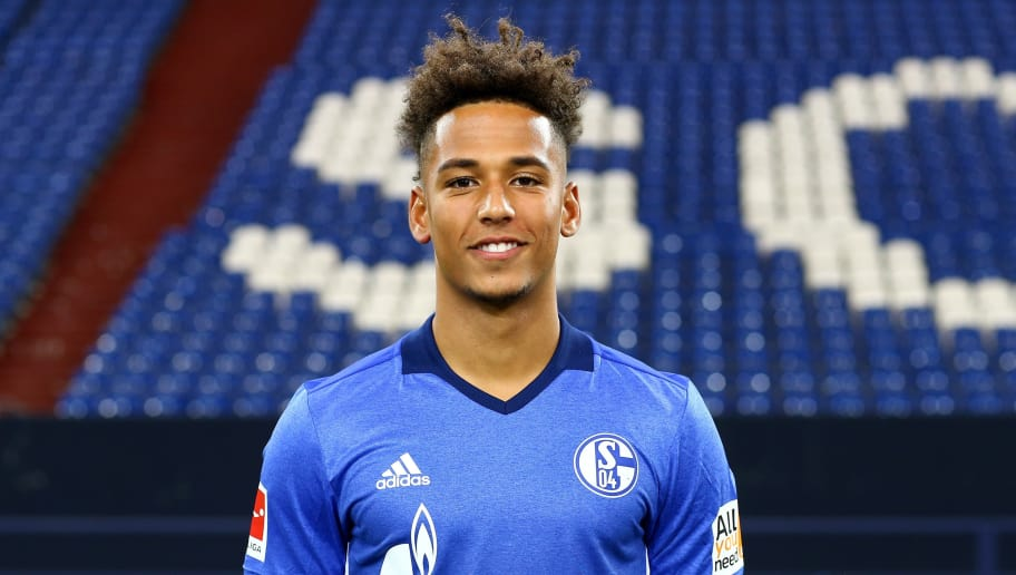 GELSENKIRCHEN, GERMANY - JULY 12:  Thilo Kehrer of FC Schalke 04 poses during the team presentation at Veltins Arena on July 12, 2017 in Gelsenkirchen, Germany.  (Photo by Christof Koepsel/Bongarts/Getty Images)