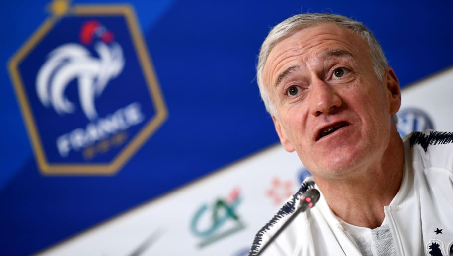 France's head coach Didier Deschamps speaks during a press conference at the Krestovski stadium in St Petersbourg, on March 26, 2018 on the eve of the friendly football match against Russia.   / AFP PHOTO / FRANCK FIFE        (Photo credit should read FRANCK FIFE/AFP/Getty Images)