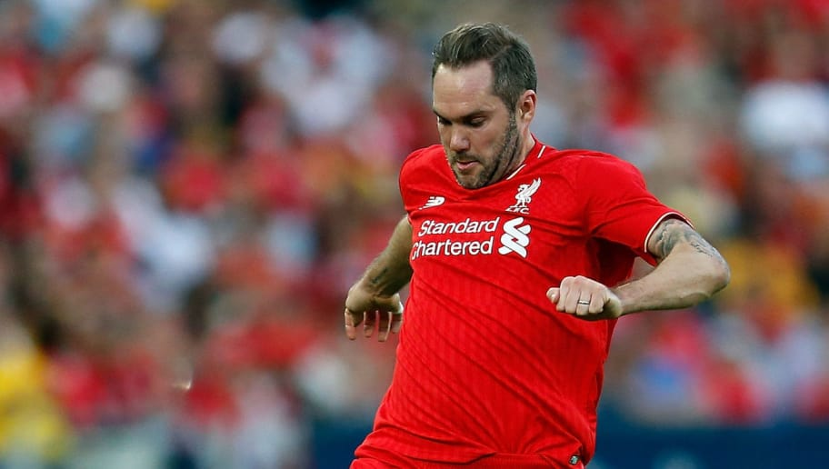 SYDNEY, AUSTRALIA - JANUARY 07:  Jason McAteer of Liverpool FC Legends lcontrols the ball during the match between Liverpool FC Legends and the Australian Legends at ANZ Stadium on January 7, 2016 in Sydney, Australia.  (Photo by Zak Kaczmarek/Getty Images)