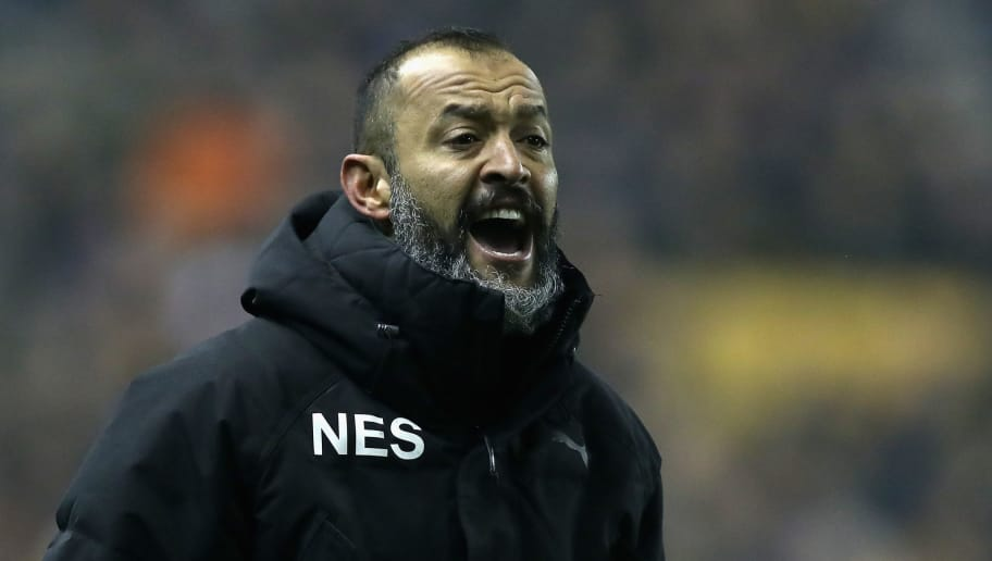 WOLVERHAMPTON, ENGLAND - APRIL 11:  Nuno Espirito Santo, the Wolverhampton Wanderers manager shouts instructions during the Sky Bet Championship match between Wolverhampton Wanderers and Derby County at Molineux on April 11, 2018 in Wolverhampton, England.  (Photo by David Rogers/Getty Images)