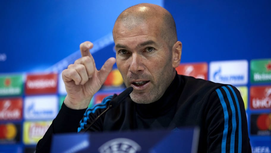 MADRID, SPAIN - APRIL 10: Head coach Zinedine Zidane of Real Madrid CF attends a press conference ahead of their UEFA Champions League quarter final second leg match against Juventus at Valdebebas training ground on April 10, 2018 in Madrid, Spain. (Photo by Gonzalo Arroyo Moreno/Getty Images)
