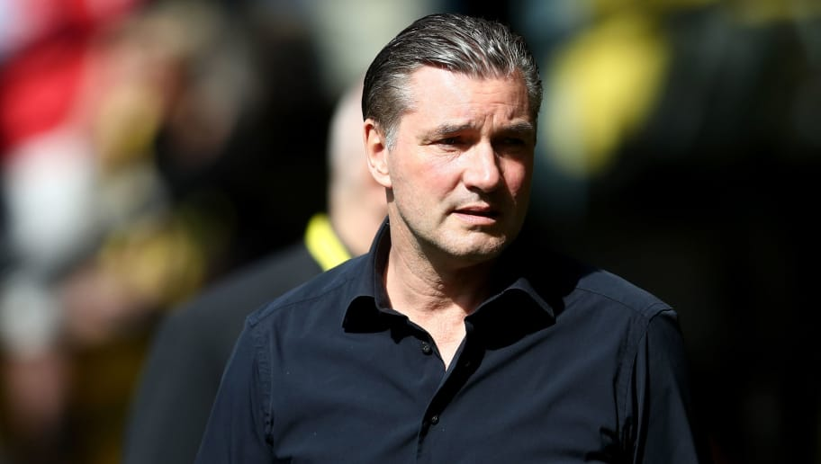 DORTMUND, GERMANY - APRIL 08: Manager Michael Zorc of Dortmund is seen prior to the Bundesliga match between Borussia Dortmund and VfB Stuttgart at Signal Iduna Park on April 8, 2018 in Dortmund, Germany. The match between Dortmund and Stuttgart ended 3-0. (Photo by Christof Koepsel/Bongarts/Getty Images)