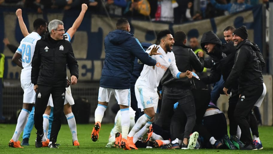 Olympique de Marseille players react at the end of the Europa League quarter final second leg football match Olympique de Marseille (OM) vs RB Leipzig at the Velodrome stadium in Marseille, on April 12, 2018.    / AFP PHOTO / BORIS HORVAT        (Photo credit should read BORIS HORVAT/AFP/Getty Images)