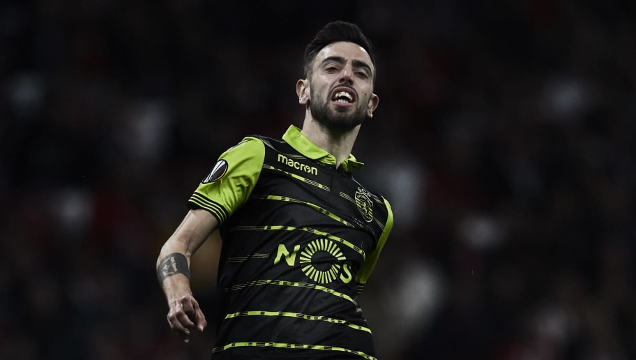 MADRID, SPAIN - APRIL 05: Bruno Fernandes of Sporting CP reacts as he fail to score during the UEFA Europa League quarter final leg one match between Club Atletico Madrid and Sporting CP at Wanda Metropolitano stadium on April 5, 2018 in Madrid, Spain. (Photo by Gonzalo Arroyo Moreno/Getty Images) *** Local Caption *** Bruno Fernandes
