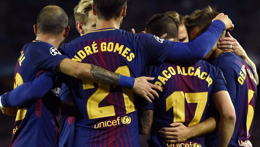BARCELONA, SPAIN - DECEMBER 05: Paco Alcacer of Barcelona celebrates after scoring his sides first goal with his Barcelona team mates during the UEFA Champions League group D match between FC Barcelona and Sporting CP at Camp Nou on December 5, 2017 in Barcelona, Spain.  (Photo by Alex Caparros/Getty Images)