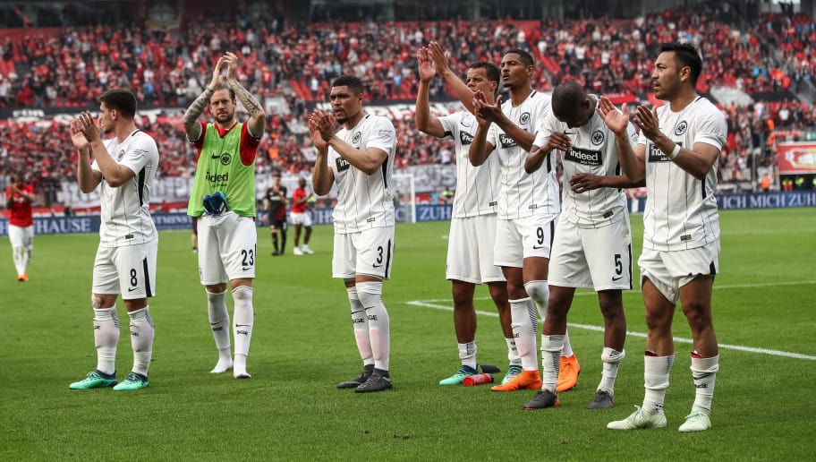 LEVERKUSEN, GERMANY - APRIL 14: Players of Eintracht Frankfurt react after the Bundesliga match between Bayer 04 Leverkusen and Eintracht Frankfurt at BayArena on April 14, 2018 in Leverkusen, Germany. (Photo by Maja Hitij/Bongarts/Getty Images)