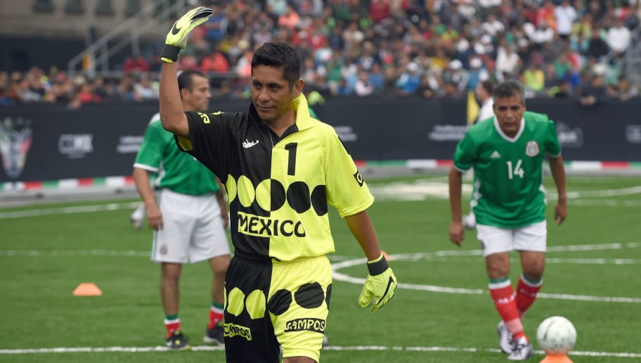 Mexico's former goalkeeper Jorge Campos waves before an exhibition football match between Mexico and Germany recalling World Cup Mexico 86 and World Cup France 98, at the Zocalo square in Mexico City on July 9, 2017. / AFP PHOTO / ALFREDO ESTRELLA        (Photo credit should read ALFREDO ESTRELLA/AFP/Getty Images)