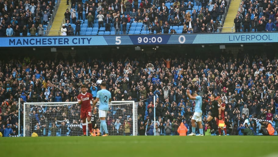 The scoreboard shows the 5-0 scoreline towards the end of the English Premier League football match between Manchester City and Liverpool at the Etihad Stadium in Manchester, north west England, on September 9, 2017. Manchester City won the game 5-0. / AFP PHOTO / Paul ELLIS / RESTRICTED TO EDITORIAL USE. No use with unauthorized audio, video, data, fixture lists, club/league logos or 'live' services. Online in-match use limited to 75 images, no video emulation. No use in betting, games or single club/league/player publications.  /         (Photo credit should read PAUL ELLIS/AFP/Getty Images)