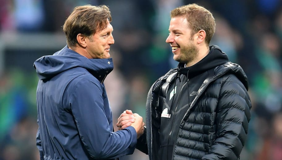 BREMEN, GERMANY - APRIL 15:  Ralph Hasenhuettl, head coach of Leipzig shake hands with Florian Kohfeldt, head coach of Bremen after the Bundesliga match between SV Werder Bremen and RB Leipzig at Weserstadion on April 15, 2018 in Bremen, Germany.  (Photo by Stuart Franklin/Bongarts/Getty Images)