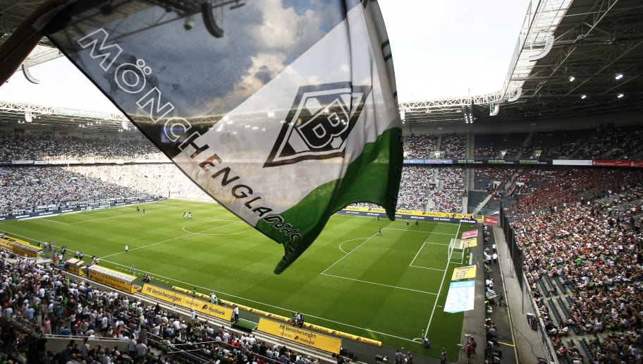 MOENCHENGLADBACH, GERMANY - AUGUST 27:  A general view of the stadium with flag during the Bundesliga match between Borussia Moenchengladbach and Bayer 04 Leverkusen at Borussia-Park on August 27, 2016 in Moenchengladbach, Germany. (Photo by Mika Volkmann/Bongarts/Getty Images)