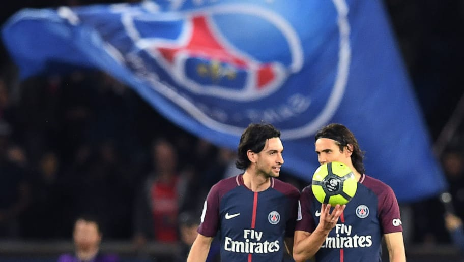 Paris Saint-Germain's Uruguayan forward Edinson Cavani (R) and Paris Saint-Germain's Argentinian midfielder Javier Pastore react after their fifth goal  during the French L1 football match between Paris Saint-Germain (PSG) and Monaco (ASM) on April 15, 2018, at the Parc des Princes stadium in Paris. / AFP PHOTO / CHRISTOPHE ARCHAMBAULT        (Photo credit should read CHRISTOPHE ARCHAMBAULT/AFP/Getty Images)