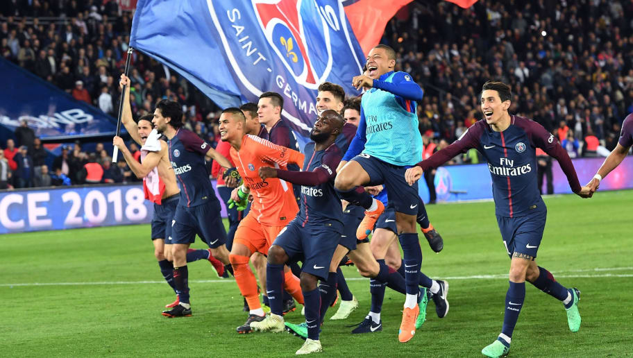 Paris Saint-Germain's Uruguayan forward Edinson Cavani celebrates after scoring a goal during the French L1 football match between Paris Saint-Germain (PSG) and Monaco (ASM) on April 15, 2018, at the Parc des Princes stadium in Paris. Paris Saint-Germain won the match and claim their seventh French League title.  / AFP PHOTO / CHRISTOPHE ARCHAMBAULT        (Photo credit should read CHRISTOPHE ARCHAMBAULT/AFP/Getty Images)