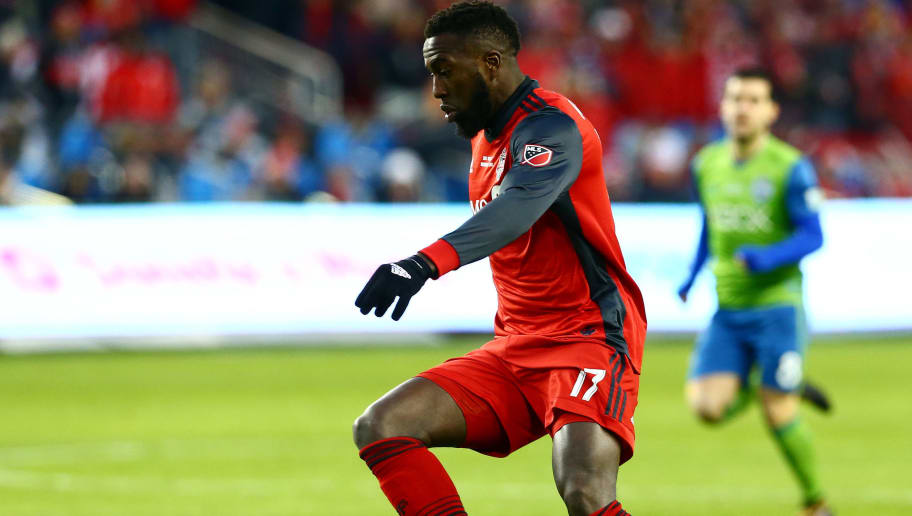 TORONTO, ON - DECEMBER 09:  Jozy Altidore #17 of Toronto FC dribbles the ball during the 2017 MLS Cup Final against the Seattle Sounders at BMO Field on December 9, 2017 in Toronto, Ontario, Canada.  (Photo by Vaughn Ridley/Getty Images)