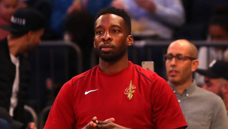 NEW YORK, NY - APRIL 09: Jeff Green #32 of the Cleveland Cavaliers looks on during warm ups before the game against the New York Knicks at Madison Square Garden on April 9, 2018 in New York City. NOTE TO USER: User expressly acknowledges and agrees that, by downloading and or using this photograph, User is consenting to the terms and conditions of the Getty Images License Agreement.  (Photo by Mike Lawrie/Getty Images)
