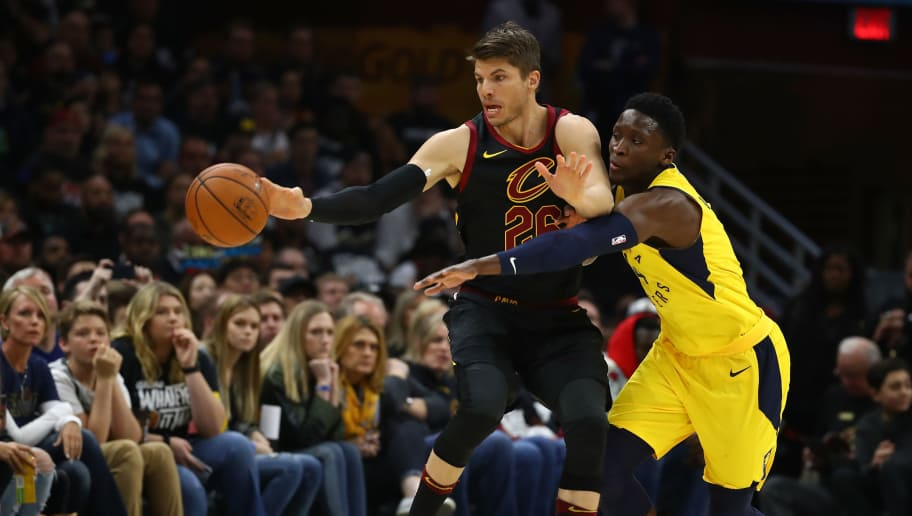 CLEVELAND, OH - APRIL 15:  Victor Oladipo #4 of the Indiana Pacers tries to steal the ball from Kyle Korver #26 of the Cleveland Cavaliers during the first half in Game One of the Eastern Conference Quarterfinals during the 2018 NBA Playoffs at Quicken Loans Arena on April 15, 2018 in Cleveland, Ohio. NOTE TO USER: User expressly acknowledges and agrees that, by downloading and or using this photograph, User is consenting to the terms and conditions of the Getty Images License Agreement. (Photo by Gregory Shamus/Getty Images)