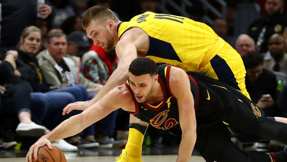 CLEVELAND, OH - APRIL 15:  Larry Nance Jr. #22 of the Cleveland Cavaliers battles for the ball with Domantas Sabonis #11 of the Indiana Pacers during the second half in Game One of the Eastern Conference Quarterfinals during the 2018 NBA Playoffs at Quicken Loans Arena on April 15, 2018 in Cleveland, Ohio. Indiana won the game 98-80 to take a 1-0 series lead. NOTE TO USER: User expressly acknowledges and agrees that, by downloading and or using this photograph, User is consenting to the terms and conditions of the Getty Images License Agreement. (Photo by Gregory Shamus/Getty Images)